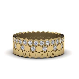 Hexagon Promise Stacking Rings