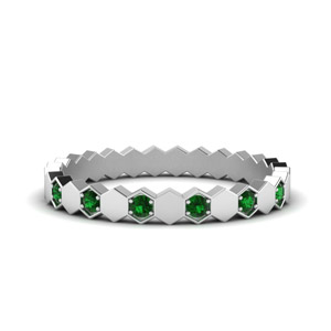 Hexagon Emerald Band