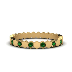 Hexagon Green Emerald Band