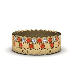 Orange Topaz Stack Band Gold