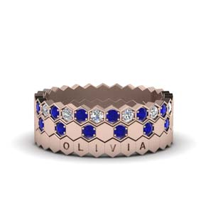 Sapphire Hexagon Wedding Band