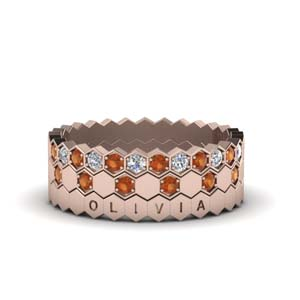 Multi Stack Band With Orange Sapphire