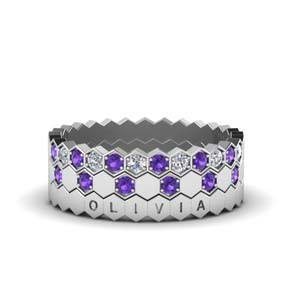 Hexagon Purple Topaz Wedding Band