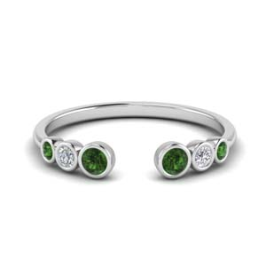 Emerald Bezel Set Open Ring