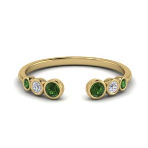 Bezel Set Open Ring With Emerald