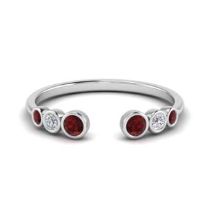 Bezel Set Ruby Open Ring
