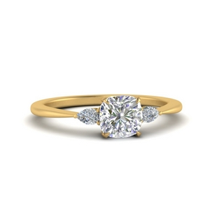 Cushion Cut Moissanite Cathedral Ring