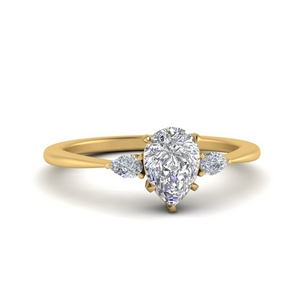 3 Stone Pear Diamond Wedding RIng