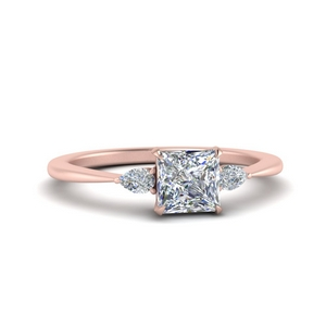 Cathedral Princess Cut Engagement Ring
