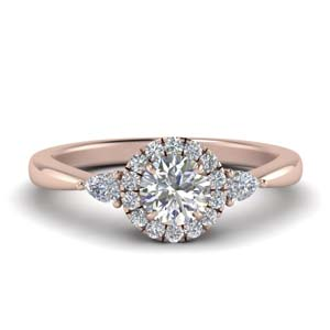 Pear Accent Halo Diamond Ring