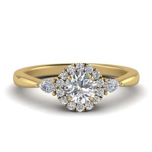 Halo Diamond Ring With Pear Accent