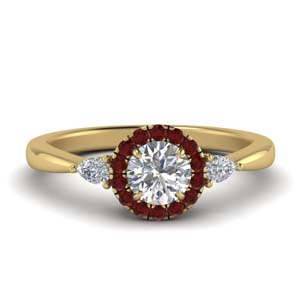 Halo Ruby Ring With Pear Accent