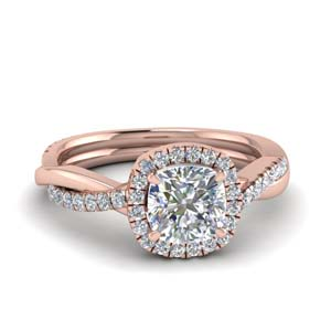 Twist Halo Diamond Ring