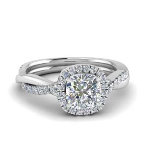 Halo Cushion Cut Vine Engagement Ring