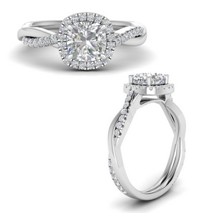 Cushion Vine Halo Diamond Ring