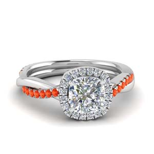 Orange Topaz U Prong Ring