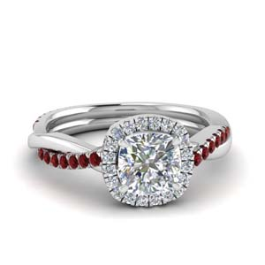 Cushion Diamond Halo Ring With Ruby