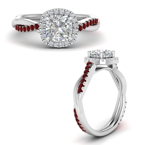 Vine Halo Ruby Engagement Ring