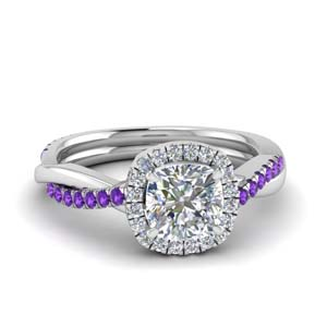 Vine Purple Topaz Halo Ring