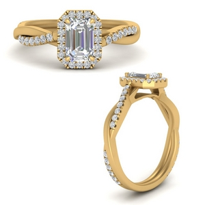 Gold Emerald Cut Halo Engagement Rings