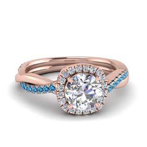 Round Diamond Ring With Topaz