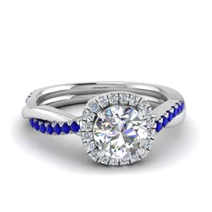 Sapphire Twisted Engagement Ring
