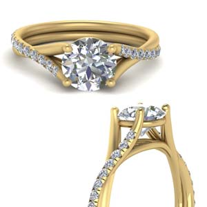 Twisted Cathedral French Prong Ring