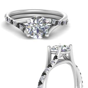Twisted Cathedral Diamond Ring