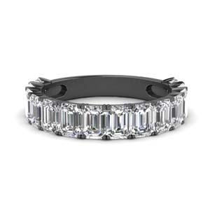 Emerald Cut Diamond Band Black Gold