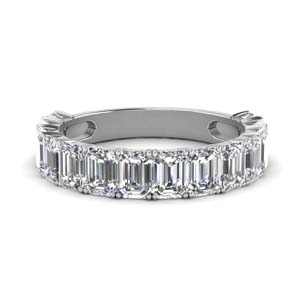 Half Eternity Emerald Cut Diamond Band