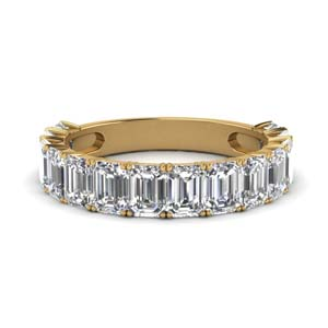 14K Yellow Gold Emerald Cut Band