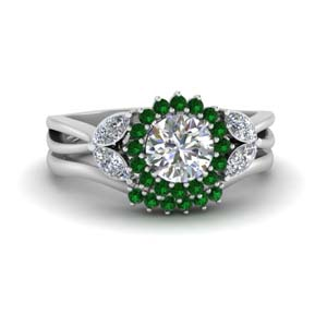 Flower Halo Split Emerald Ring Set
