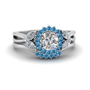 Blue Topaz Platinum Ring Set