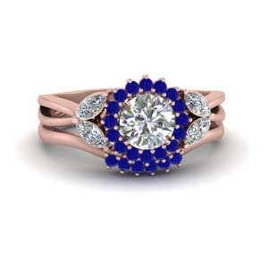 Orange Sapphire Flower Halo Ring Set