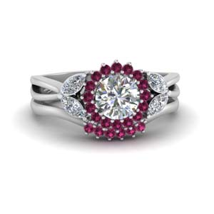 Pink Sapphire White Gold Ring Set