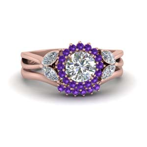 Flower Halo Purple Topaz Ring Set