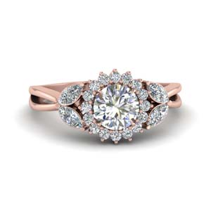 Flower Halo Split Shank Diamond Ring