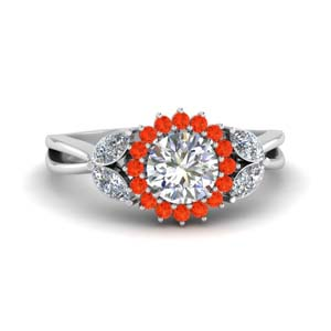 Floral Orange Topaz Wedding Ring