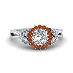 Split Shank Orange Sapphire Halo Ring