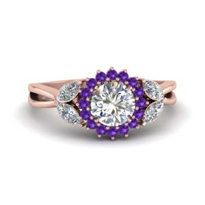 Purple Topaz Flower Ring