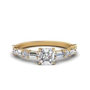 Horizontal Baguette Diamond Engagement Ring