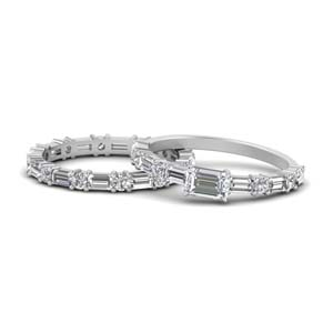 East West Emerald Cut Wedding Set