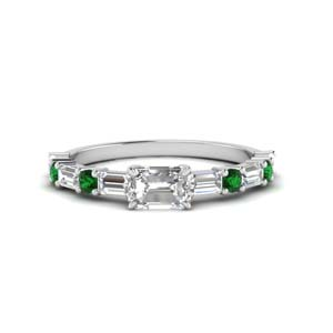 East West Diamond Ring With Emerald