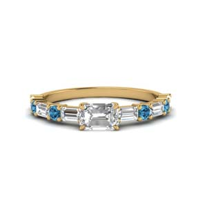 Topaz East West Gold Ring