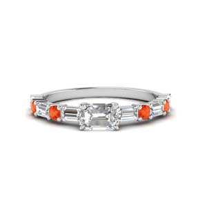 Orange Topaz Baguette Diamond Ring