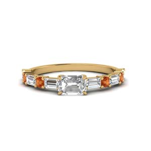 Alternate Ring With Orange Sapphire