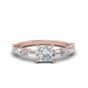 Princess Cut Engagement Ring With Baguette