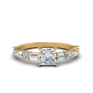 Gold Princess Cut Traditional Ring
