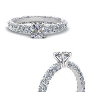 White Gold Cushion Cut Side Stone Rings