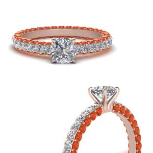 Cushion Cut Rings With Orange Topaz